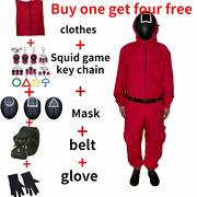 U.s.a Squid Game Mask Children Cosplay Jumpsuit Halloween Party Costume 110-160