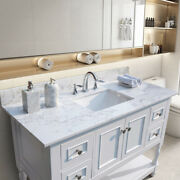 43x22 In Bathroom Stone Vanity Top With Rectangle Undermount Ceramic Sink And Back