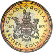 1971 Canada Silver Dollar 1 British Columbia Sp66 Ngc Toned Certified Coin