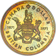 1971 Canada Silver Dollar 1 British Columbia Sp65 Ngc Toned Certified Coin