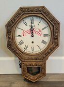 Vintage Collectible Drink Coca-cola Wall Clock With Pendulum. Works