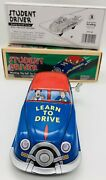 """Old Schylling Wind Up Tin Car Fun Student Driver Driving School W/box 7.5""""long"""