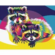 Colored Raccoons Diamond Painting Artistic Design Embroidery House Wall Portrait