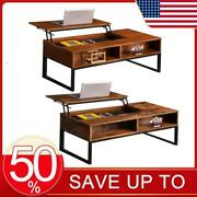Coffee Table Lift-up Brown Finish Hidden Storage Cabinet Compartment Longlasting