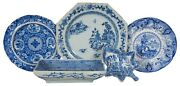 5 Antique Flow Blue Willow Porcelain Plates Serving Dishes Staffordshire R. Hall