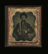 Superb Ambrotype Photo Armed Confederate Civil War Soldier Bowie Knife And Gun