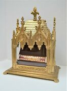 Large Brass Reliquary Shrine With Tubular Relic Of St. Lazarus Bishop Cu904