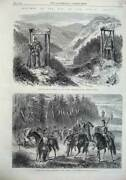 Old Antique Print 1866 War Outpost Prussian Lancers Bohemian Frontier Art 19th