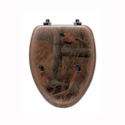 Abandoned Fenceline Elongated Closed Front Wood Toilet Seat In Oak Brown