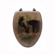 Playtime Elongated Closed Front Wood Toilet Seat In Oak Brown