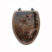 Greenhead Haven Elongated Closed Front Wood Toilet Seat In Oak Brown
