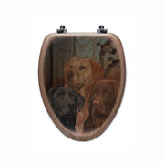 Lab Trio Elongated Closed Front Wood Toilet Seat In Oak Brown