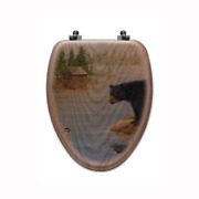 Misty Morning Encounter Elongated Closed Front Wood Toilet Seat In Oak Brown
