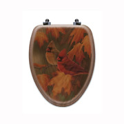Maple Leaves And Cardinal Elongated Closed Front Wood Toilet Seat In Oak Brown