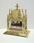 Large Brass Reliquary Shrine With Tubular Relic Of St. Christopher Cu905