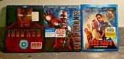 Iron Man 1, 2, And 3  Blu-ray + Dvd All With Slipcovers  Ln