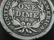 1856 S Seated Liberty Silver Dime- Rare San Francisco Fine Details