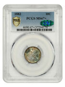 1882 10c Pcgs/cac Ms67+ Tied For Finest Known - Liberty Seated Dime