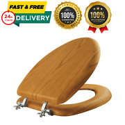 Mayfair Toilet Seat Round Slow Close Closed Front Wood Bathroom Accessory Brown