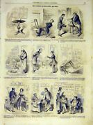 Original Old Antique Print Sketches Writer Writing-table French 1854 Victorian
