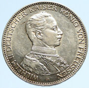 1914a Germany German States Prussia Wilhelm Ii Antique Silver 3 Mark Coin I97093