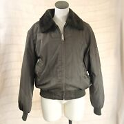 Vintage Menandrsquos Sears Bomber Coat L42-44 Nylon Brown With Sherpa Collar