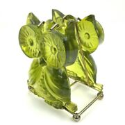 Vintage 60s 70s Mid-century Owl Letter Or Napkin Holder Acrylic Lucite Green