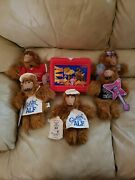 1987 Alf Tv Show Red Plastic Lunch Box, Thermos, And Burger King Alf Puppets