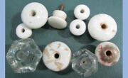 Lot Antique 10pc Porcelain And Glass Drawer/cabinet Knobs Pulls 3/4-1 1/2 Inch