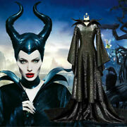 Halloween Adult Women Maleficent Cosplay Costume Fancy Dress With Hat