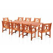 Surfside Rectangular Wood Armchair Outdoor Dining Set By Brown 9-piece Sets