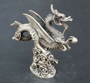 Collectibles China Classical Fly Dragon On Fireball Tibet Silver Copper Statues
