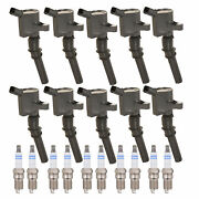 Bosch 10 Ignition Coils And 10 Platinum Spark Plugs 0.039 Kit For Ford 6.8l V10