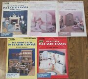 Fashion Doll Playhouse Book 1-5 Plastic Canvas By Dick Martin Kitchen, Boudoir