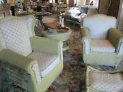 5 Living Room Set Antique Wicker Furniture Sofa 2 Chairs Table Ottoman