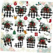 12 Pieces Christmas Wooden Tree Decorations Christmas Buffalo Black And White