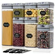 7pcs Plastic Food Storage Container Air Tight Jar Set For Kitchen Sealed Can New