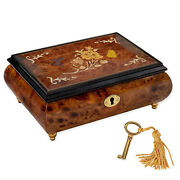 Pale Butterfly Floral Inlaid Wood Jewelry Music Box Plays Tune Edelweiss