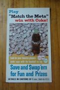 1967 Coca Cola Cardboard Baseball Players Mets Bottle Cap Counter Top Sign Stand