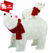 29 Prelit Large Polar Bear Baby Outdoor Christmas Decorations 100 Clear Lights
