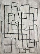 72x54 Abstract Black And White Painting On Canvas Original Labyrinth Wall Art