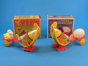 2 Wind Up Toys Happy Papa Rooster W/ Egg Cart And Chickens Tin Litho Boxed Hk