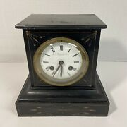Antique A Stowell And Co Boston Marble French Mantel Clock N/keys Works