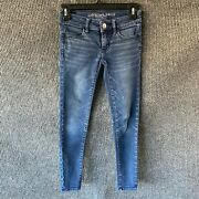 American Eagle Skinny Low Rise Womens Jeans Size 00 Blue Denim Stretch Jegging