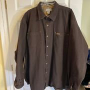 Frontier Plaid Flannel Lined Canvas Shirt Jacket Brown 2xl S96dkb