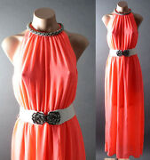 Neon Pink Women's Chiffon Belted Cocktail Party Evening Formal Long Maxi Dress S