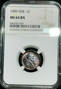 1909-p U.s 1 Cent Lincoln Cent Vdb Ngc Ms 64 Bn Amazing Eye Appeal Toned Gem