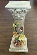 Gorgeous Vintage Capodimonte Pedestal Italy Plant Stand Or Statuette 18andrdquoh X 7andrdquow