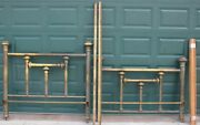 Antique Vintage Full Size Heavy Brass Bed Headboard And Footboard And Frame