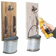 Rustic Hanging Beer Bottle Opener Wall Mounted With Cap Catcher Set Of 2 For ...